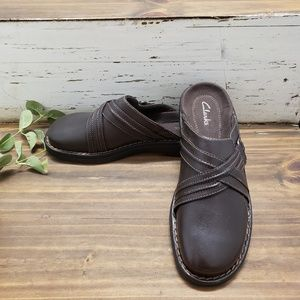 Clarks Brown Leather Mules Size 7